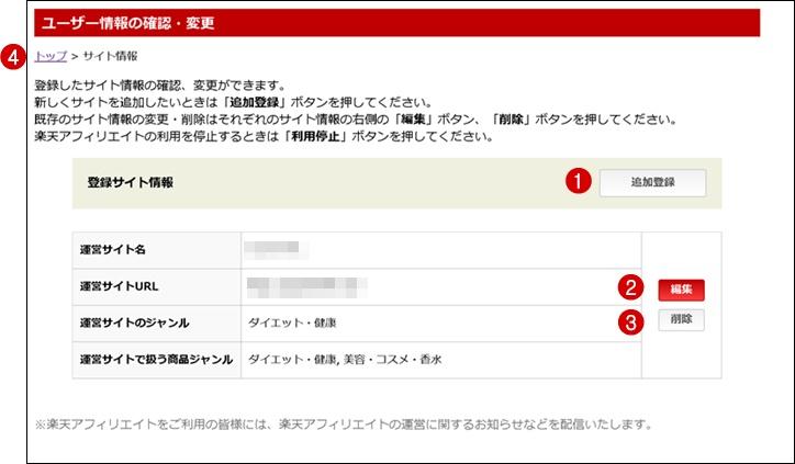 サイト情報登録終了