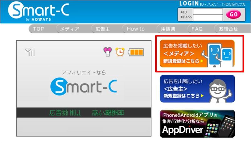 スマートcトップ画面